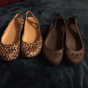 Two pair of Crocs size 10